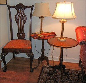 Chair and lamps